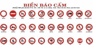 Biển báo cấm trong luật giao thông đường bộ